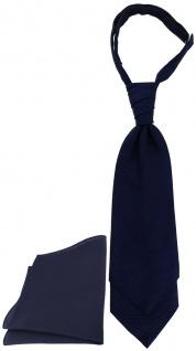 TigerTie Plastron Pique 2tlg Krawatte + Einstecktuch in marine uni gemustert
