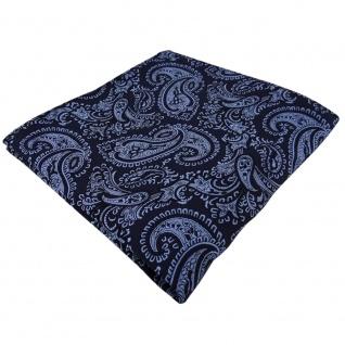 Seideneinstecktuch in blau royal schwarz paisley gemustert - Einstecktuch Seide
