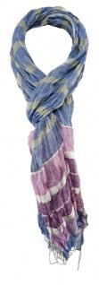 TigerTie Schal in rosa blau grün weiss grau gemustert mit Fransen 190 x 60 cm