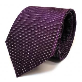 Designer Seidenkrawatte lila violett purpurviolett silber gepunktet - Krawatte Seide
