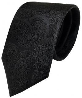 TigerTie Designer Seidenkrawatte schwarz Paisley - Krawatte Seide Silk