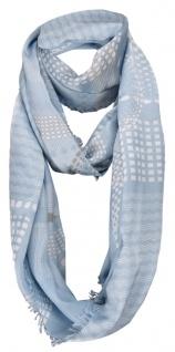 Damen Loop Schal in hellblau weiß grau gemustert mit Fransen - Gr. 180 x 50 cm