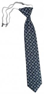 TigerTie Kinderkrawatte in mint blau schwarz - Motiv Flechtmuster - mit Gummizug