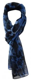 TigerTie Unisex Chiffon Schal in blau marine royal schwarz Leoparden Muster