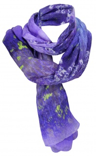 TigerTie weicher Schal lila violett flieder gelb grau blau - Motiv Blumenwiese