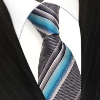 schöne edle TigerTie Designer Seidenkrawatte blau hellblau türkis gestreift
