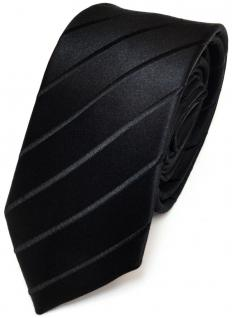 Schmale TigerTie Seidenkrawatte schwarz gestreift - Tie Krawatte 100% pure Seide - Vorschau 1