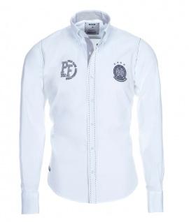 Pontto Designer Hemd Shirt in weiß schwarz grau langarm Modern-Fit Gr. XL