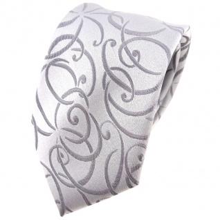 Hochzeit Seidenkrawatte silber Rankenmuster Uni - Krawatte 100% reine Seide