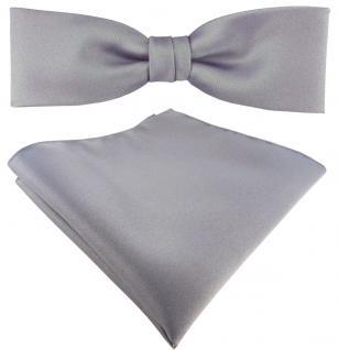 schmale TigerTie Fliege + Einstecktuch in silber grau einfarbig + Box