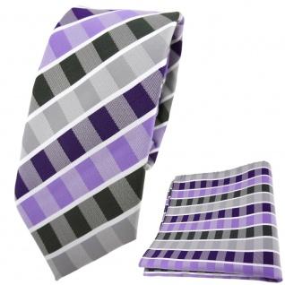 schmale TigerTie Krawatte + Einstecktuch lila flieder anthrazit weiß gestreift