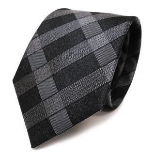 TigerTie Designer Seidenkrawatte grau anthrazit schwarz kariert - Krawatte Seide