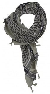 TigerTie Halstuch in grau schwarz silber gemustert mit Fransen -Gr. 100 x 100 cm