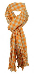 gecrashter Schal in orange beige kariert mit kleinen Fransen - Gr. 180 x 50 cm