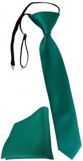 TigerTie Kinderkrawatte + Einstecktuch petrolgrün Uni - vorgebunden mit Gummizug
