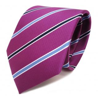 TigerTie Krawatte magenta violett blau weiss gestreift - Schlips Binder Tie