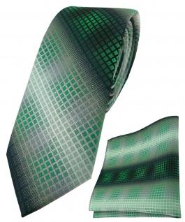schmale TigerTie Krawatte + Einstecktuch grün silber grau schwarz kariert