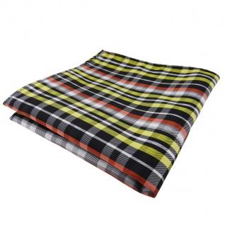 TigerTie Einstecktuch gelb orange grau schwarz silber kariert - Tuch Polyester