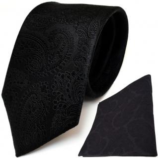 TigerTie Seidenkrawatte + Seideneinstecktuch in schwarz Paisley gemustert
