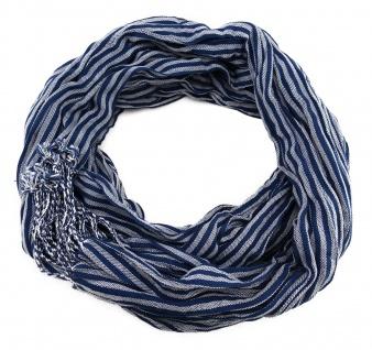 Schal in blau silber gestreift mit Fransen - 180 cm x 50 cm - Tuch Baumwolle