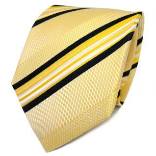 TigerTie Designer Seidenkrawatte gelb weiß schwarz gestreift - Krawatte Seide