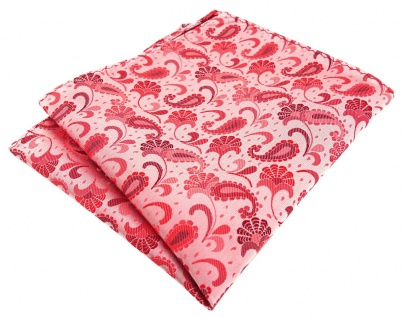 TigerTie Designer Einstecktuch in rose weinrot silberrosa Paisley gemustert