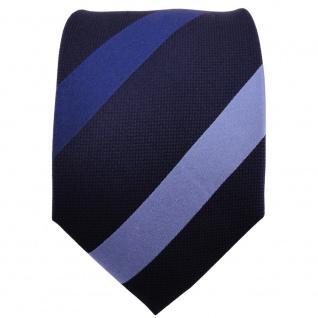 TigerTie Designer Seidenkrawatte blau hellblau dunkelblau gestreift - Vorschau 2