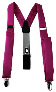 schmaler TigerTie Unisex Hosenträger mit 3 extra starken Clips - in magenta Uni