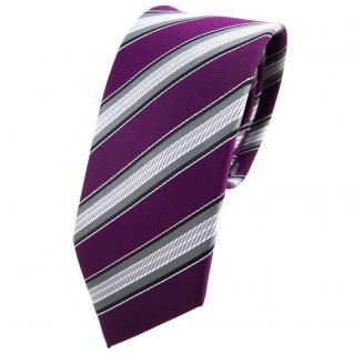 Schmale TigerTie Krawatte lila purpur grau silber schwarz gestreift - Binder Tie
