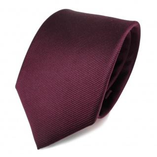 TigerTie Seidenkrawatte Uni Rips dunkles Bordeaux Rot - Krawatte Tie Seide Silk