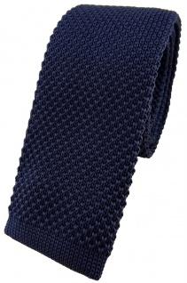hochwertige TigerTie Strickkrawatte marine dunkelblau einfarbig Uni - Krawatte