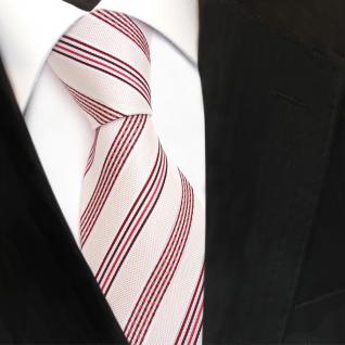 TigerTie Designer Seidenkrawatte creme weiß rot bordeaux gestreift - Krawatte - Vorschau 3