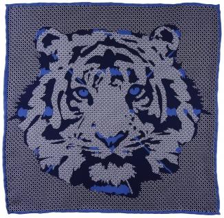 TigerTie Seideneinstecktuch in marine royal silber grau - Motiv Tigerkopf