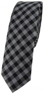 schmale TigerTie Krawatte Schlips in anthrazit grau schwarz kariert (4, 5 cm)