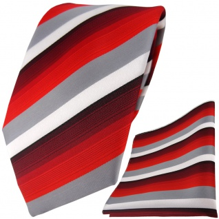 TigerTie Designer Krawatte + Einstecktuch in rot weinrot grau weiss gestreift