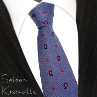 Mexx Seidenkrawatte blau dunkelblau rot rosé gepunktet - Krawatte Seide Tie