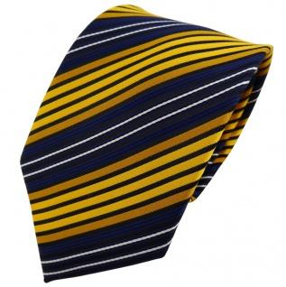 TigerTie Krawatte gelb dunkelgelb blau schwarz gestreift - Binder Tie