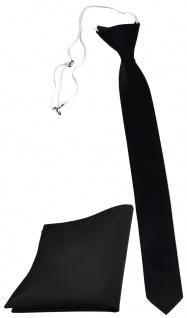 XXL TigerTie Sicherheits Krawatte + Einstecktuch in schwarz einfarbig Uni Rips