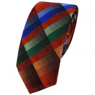 Schmale TigerTie Designer Krawatte orange blau grün braun kariert - Binder Tie
