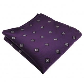 Einstecktuch lila anthrazit grau gemustert - Tuch 25x25 cm in Polyester