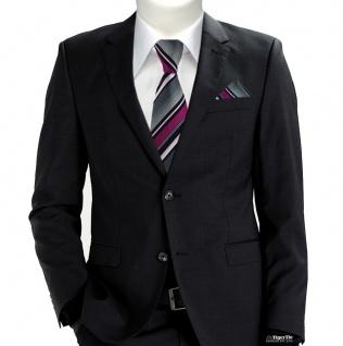 TigerTie Krawatte + Einstecktuch in magenta silber grau weiss schwarz gestreift - Vorschau 2