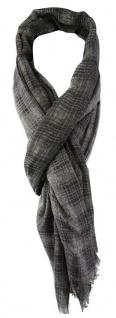 TigerTie Schal in grau anthrazit creme kariert mit Fransen - Gr. 180 x 50 cm
