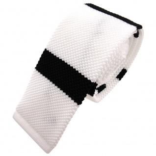 Schmale Strickkrawatte weiß schwarz gestreift - Krawatte Polyester Tie