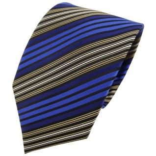 TigerTie Krawatte blau braun schwarz silber gestreift - Binder Tie