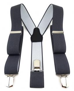 TigerTie Unisex Hosenträger mit 3 extra starken Clips- dunkelgrau einfarbig Uni