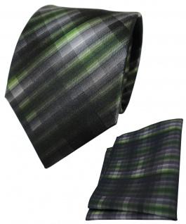 TigerTie Seidenkrawatte + Seideneinstecktuch grün anthrazit grau gemustert