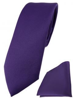 schmale TigerTie Designer Krawatte + Einstecktuch blaulila violett einfarbig uni