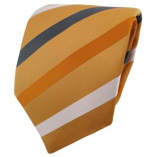 TigerTie Krawatte gelb dunkelgelb anthrazit weiß gestreift - Binder Schlips Tie