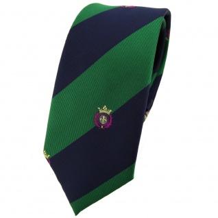 Schmale TigerTie Krawatte grün laubgrün dunkelblau gestreift Wappen - Tie Binder
