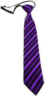 TigerTie Kinderkrawatte lila schwarz gestreift- Krawatte vorgebunden m. Gummizug